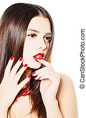 Fashion Woman with Red Nails. Beautiful Manicure