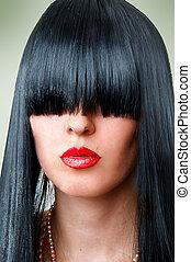 fashion woman with seductive red lips and bang - Closeup...