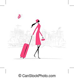 Fashion woman with suitcase, cityscape background, vector ...