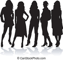 Fashion women 5 silhouettes vector