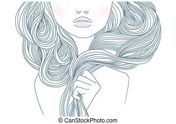 Fashion women - Beautiful fashion women with abstract hair ...