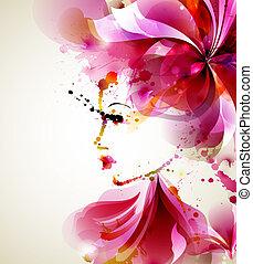 fashion women - Beautiful fashion women with abstract hair...