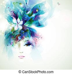 fashion women - Beautiful fashion women face with flower