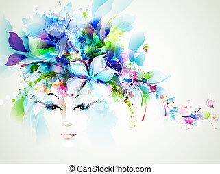 fashion women - Beautiful fashion women face with abstract...