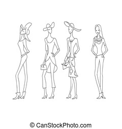 Fashion women. Hand-drawn fashion model. Summer collection sketch.