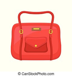 Fashion women handbag with handle and pocket on button. Flat vector icon of small red travel bag for carry personal items