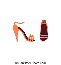 Fashion women high heels shoes or sandals, flat vector illustration isolated.