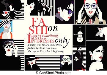 Fashion women in style pop art.