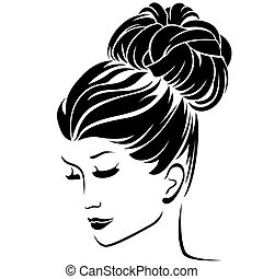 Fashion women with bun hairstyle hair