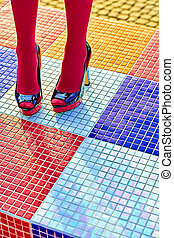 Fashion womens sexy legs, heels. Vivid geometry, people