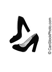 Fashion women's shoes with a wide heel, top view, isolated