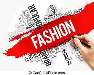Fashion word cloud collage, concept background