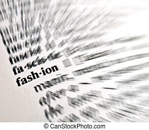 Fashion word from a free dictionary, close up