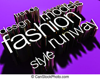 Words on the topic: fashion, volumetric 3D letters of gold on a dark background