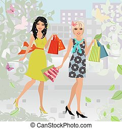 fashion young women with purchase in city for your design