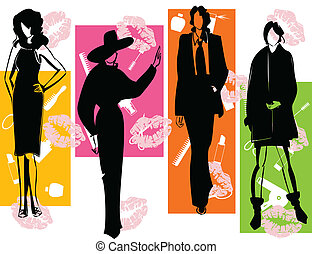Fashion2 - Women of model in fashionable dresses. A vector ...