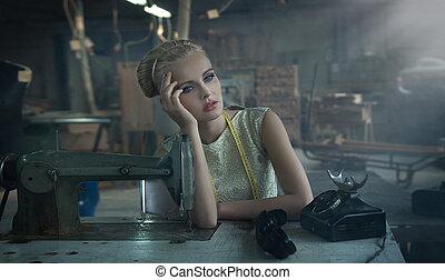 fashionabel, blondin, framställ
