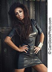 fashionabel, brunett, skönhet, posing.