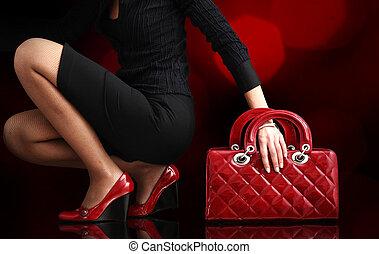 fashionabel, kvinna, med, a, röd, väska, mode, foto