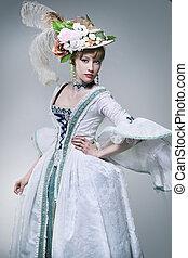 fashionabel, skönhet, framställ