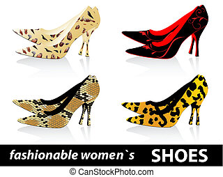 fashionabel, skor, kvinnor s