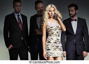 fashionabel, skott, av, dristig, och, vacker, folk