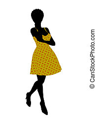Fashionable African American Female Illustration Silhouette...