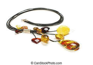 Fashionable amber necklace isolated