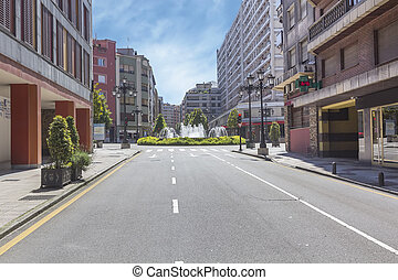 fashionable avenue in a city completely empty