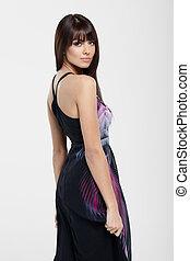 Fashionable beauty - Fashionable lady in black dress posing...