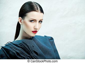 Fashionable beauty - Fashion portrait of beautiful female...