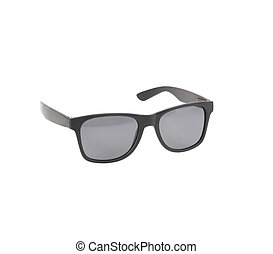 Fashionable black sunglasses on a white background.