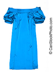 Fashionable blue gown. Isolated object on a white...