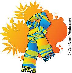 Fashionable blue scarf - Fashionable scarf on autumnal...