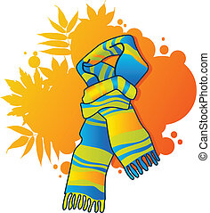 Fashionable blue scarf - Fashionable scarf on autumnal ...