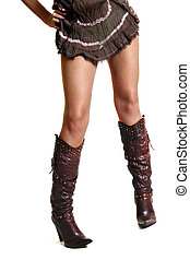 Fashionable boots - Legs of the woman in boots on a white...