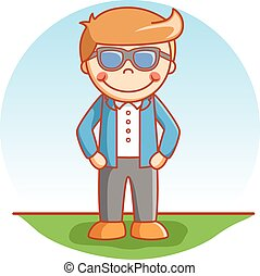Fashionable boy cartoon illustratio