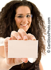 fashionable businesswoman showing business card
