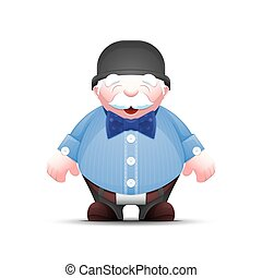 Fashionable cartoon old man in bowler hat and with bow tie