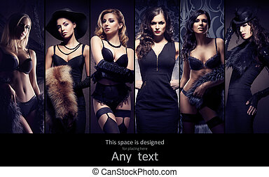 Fashionable collection of different women posing in fashion...