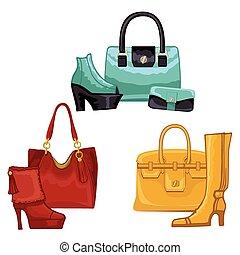 Fashionable colored womens boots ,shoes,handbags