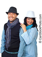 Fashionable couple  with hats