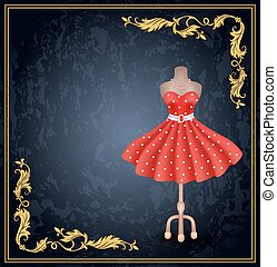 Fashionable dress with polka dots in retro style on dummy.