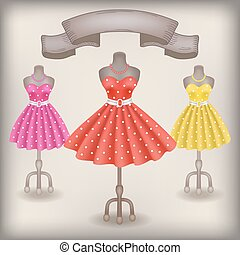 Fashionable dress with polka dots in retro style on dummy