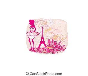 fashionable elegant woman in Paris