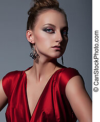 Fashionable european girl closeup portrait
