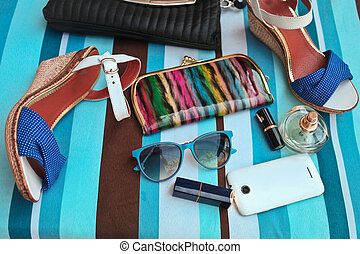 Fashionable female accessories. Summer concept