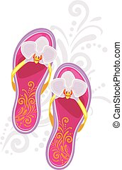 Fashionable female beach slippers. Symbol for fashion style