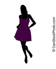Fashionable Female Illustration Silhouette - Casual dressed...