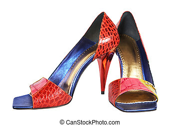 Fashionable female shoes on a high heel